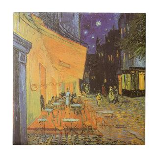 Noche de la terraza del café, impresionismo del vi teja cerámica