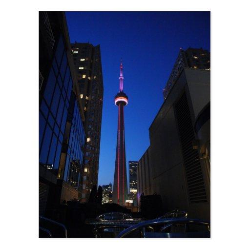 Noche de la torre de Toronto Tarjeta Postal
