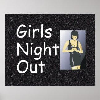 Noche de los chicas de la CAMISETA hacia fuera Posters