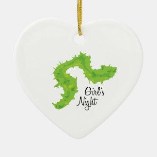 Noche de los chicas adorno de cerámica en forma de corazón