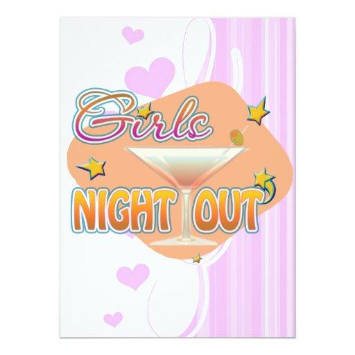 """noche de los chicas hacia fuera, anoche hacia invitación 5.5"""" x 7.5"""""""