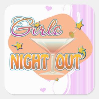 noche de los chicas hacia fuera, anoche hacia pegatina cuadrada
