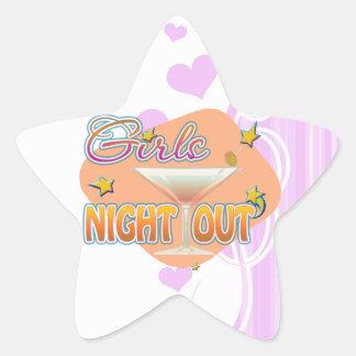 noche de los chicas hacia fuera, anoche hacia pegatina en forma de estrella