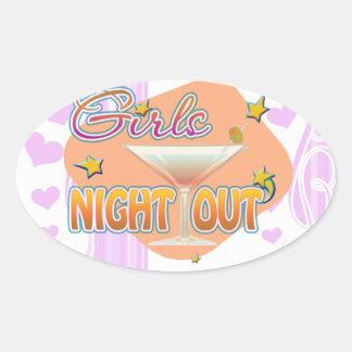 noche de los chicas hacia fuera, anoche hacia pegatina ovalada