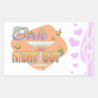 noche de los chicas hacia fuera, anoche hacia pegatina rectangular