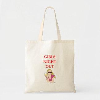 noche de los chicas hacia fuera bolsa lienzo
