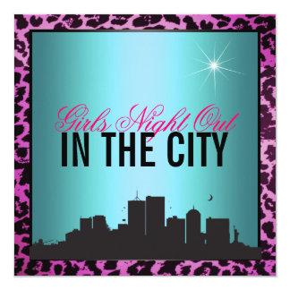 """Noche de los chicas hacia fuera en la ciudad invitación 5.25"""" x 5.25"""""""
