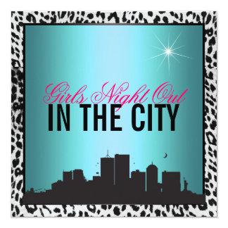 """Noche de los chicas hacia fuera en la ciudad, invitación 5.25"""" x 5.25"""""""