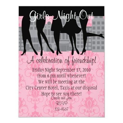 """Noche de los chicas hacia fuera invitación 4.25"""" x 5.5"""""""