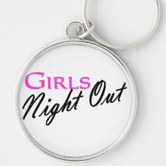 Noche de los chicas hacia fuera llavero redondo plateado