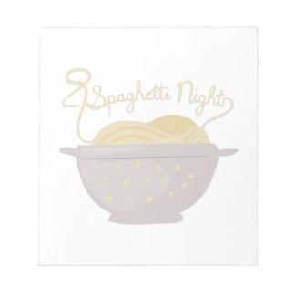 Noche de los espaguetis bloc de notas