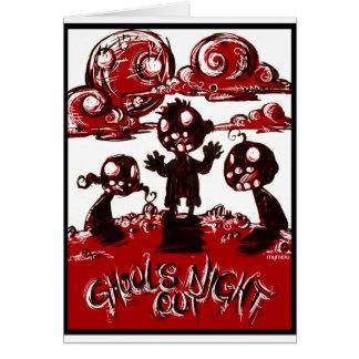 Noche de los espíritus necrófagos hacia fuera tarjeta de felicitación