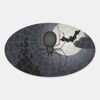 Noche de los pegatinas del óvalo de la araña pegatina ovalada