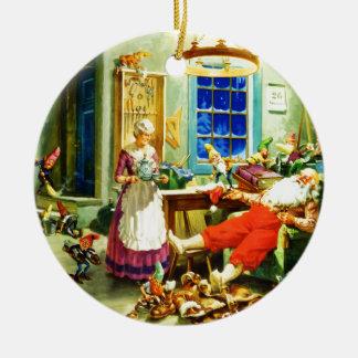 Noche de navidad de Santa y de señora Claus Relax Adorno Navideño Redondo De Cerámica