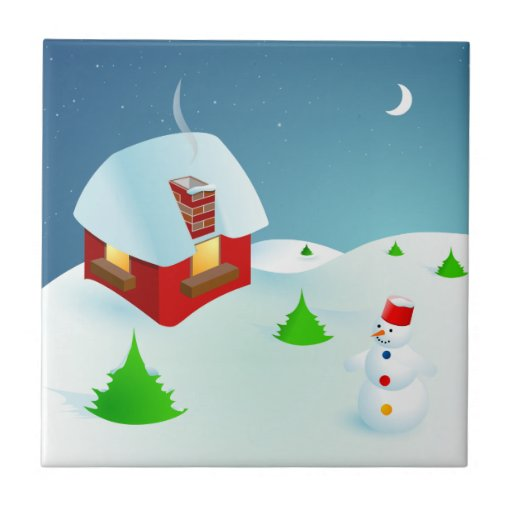 Noche de navidad del muñeco de nieve del dibujo an teja cerámica