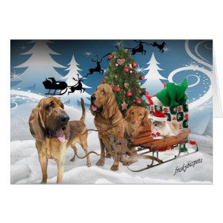 Noche de navidad del sabueso tarjeta
