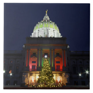 Noche de navidad en el capitolio del estado de azulejo cuadrado grande