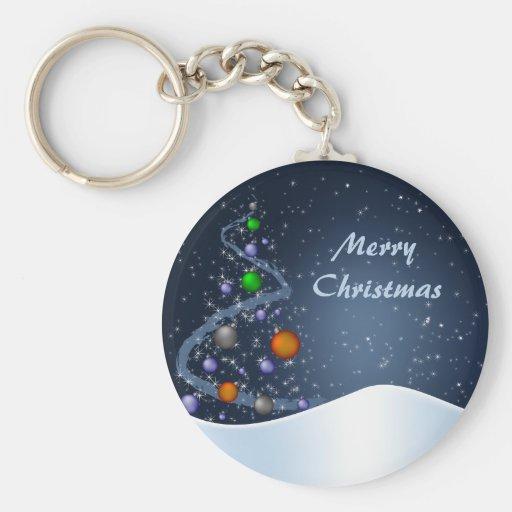 Noche de navidad estrellada llaveros personalizados