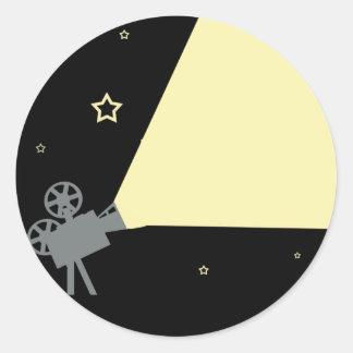 noche de película pegatina redonda