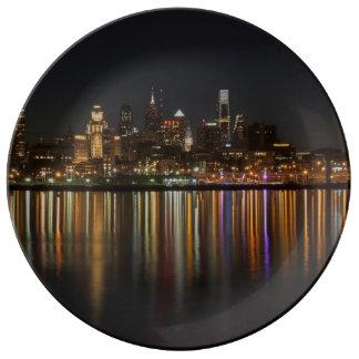 Noche de Philly Plato De Cerámica