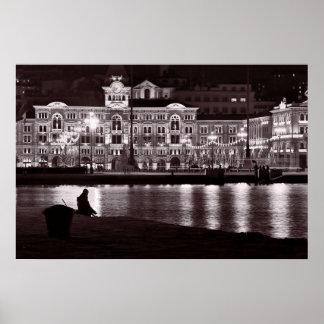 Noche de relajación en ciudad póster