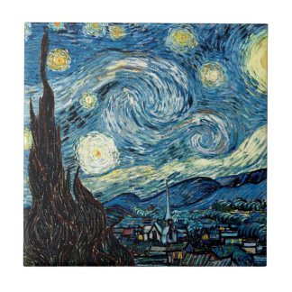 Noche de Stary por Van Gogh - Trivet Azulejo Cuadrado Pequeño