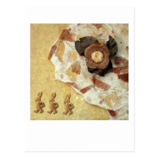 Noche de tres liebres - collage tarjeta postal