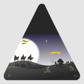 Noche del acebo pegatina triangular