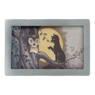Noche del árbol de la Luna Llena del gato negro Hebilla De Cinturón Rectangular