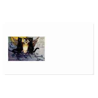 Noche del árbol de la Luna Llena del gato negro Tarjeta Personal