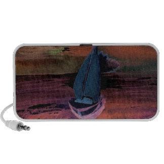 Noche del arte del velero de la navegación que nav laptop altavoz