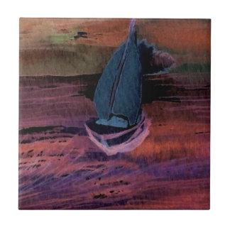 Noche del arte del velero de la navegación que nav teja  ceramica