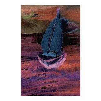 Noche del arte del velero de la navegación que nav papelería de diseño