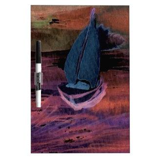 Noche del arte del velero de la navegación que nav pizarra blanca