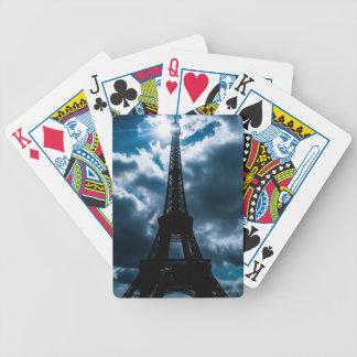 Noche del azul de la torre Eiffel Baraja De Cartas Bicycle