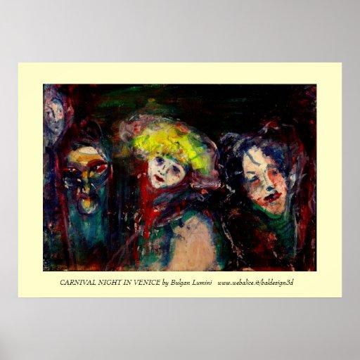 NOCHE del CARNAVAL EN las máscaras venecianas de Póster