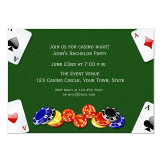 Noche del casino invitación 12,7 x 17,8 cm