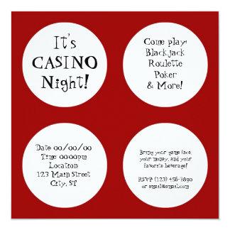 """Noche del casino invitación 5.25"""" x 5.25"""""""