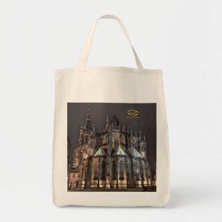Noche del castillo de Praga de la catedral de Bolsa Tela Para La Compra