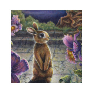 Noche del conejo y de las flores de conejito que impresión en lona estirada