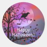 Noche del cuervo de Halloween Etiquetas Redondas