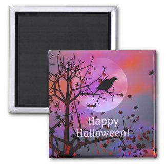 Noche del cuervo de Halloween Imán Cuadrado
