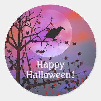 Noche del cuervo de Halloween Pegatina Redonda