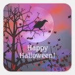 Noche del cuervo de Halloween Pegatinas Cuadradas