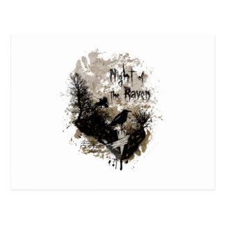 noche del diseño afectado cuervo tarjeta postal