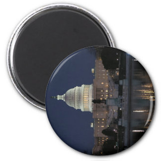 Noche del edificio del capitolio de los E.E.U.U. Imán Redondo 5 Cm