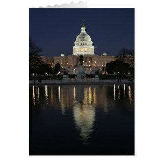 Noche del edificio del capitolio de los E.E.U.U. Tarjeta De Felicitación