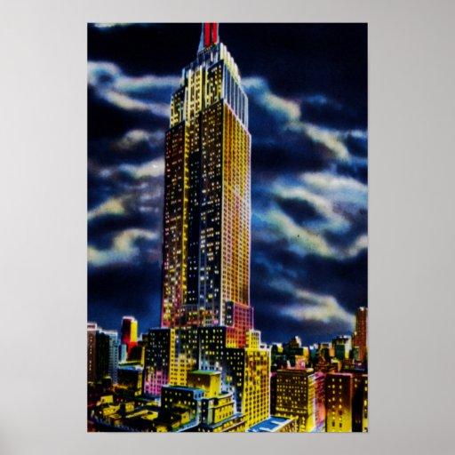 Noche del Empire State Building de New York City Poster