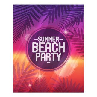 """Noche del fiesta de la playa del verano folleto 4.5"""" x 5.6"""""""