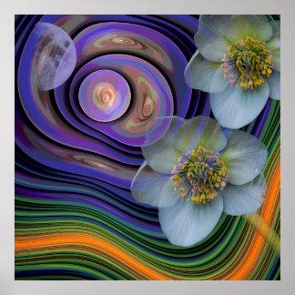 Noche del Helleboris, floral abstracto artístico Impresiones